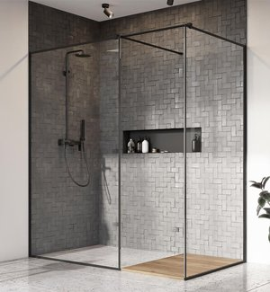 душевой уголок radaway walk-in modo x ii black frame 75